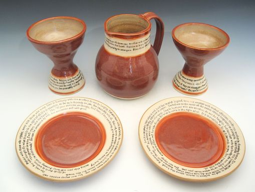 Custom Made Pottery Communion Set In Plum Red And Cream