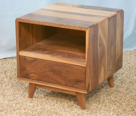 Custom Made 1 Drawer Danish Modern Nightstand In Sappy Walnut (Item  1d635)