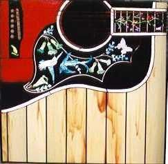 Custom Made Guitar Stained Glass