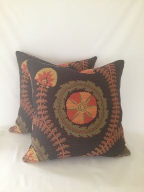Custom Made Black And Red Brocade Floral Pillow Cover