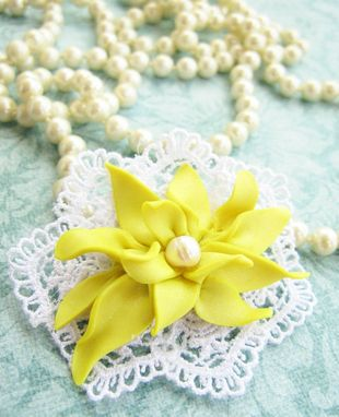 Custom Made Yellow Polymer Clay Flower And Freshwater Pearl - Lace Brooch - Accessorize Anything