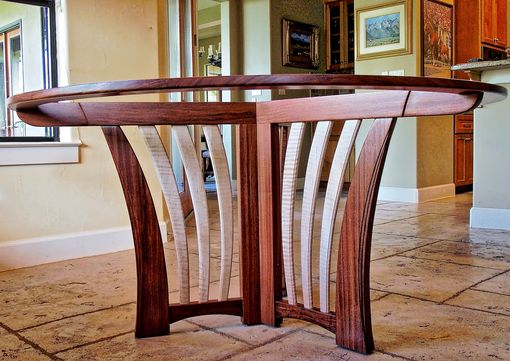 Custom Made Bubinga Dining Table With Glass Top