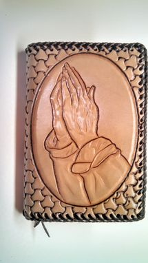 Custom Made Hand Carved Praying Hands And Serenity Prayer Pocket Size Big Book Cover