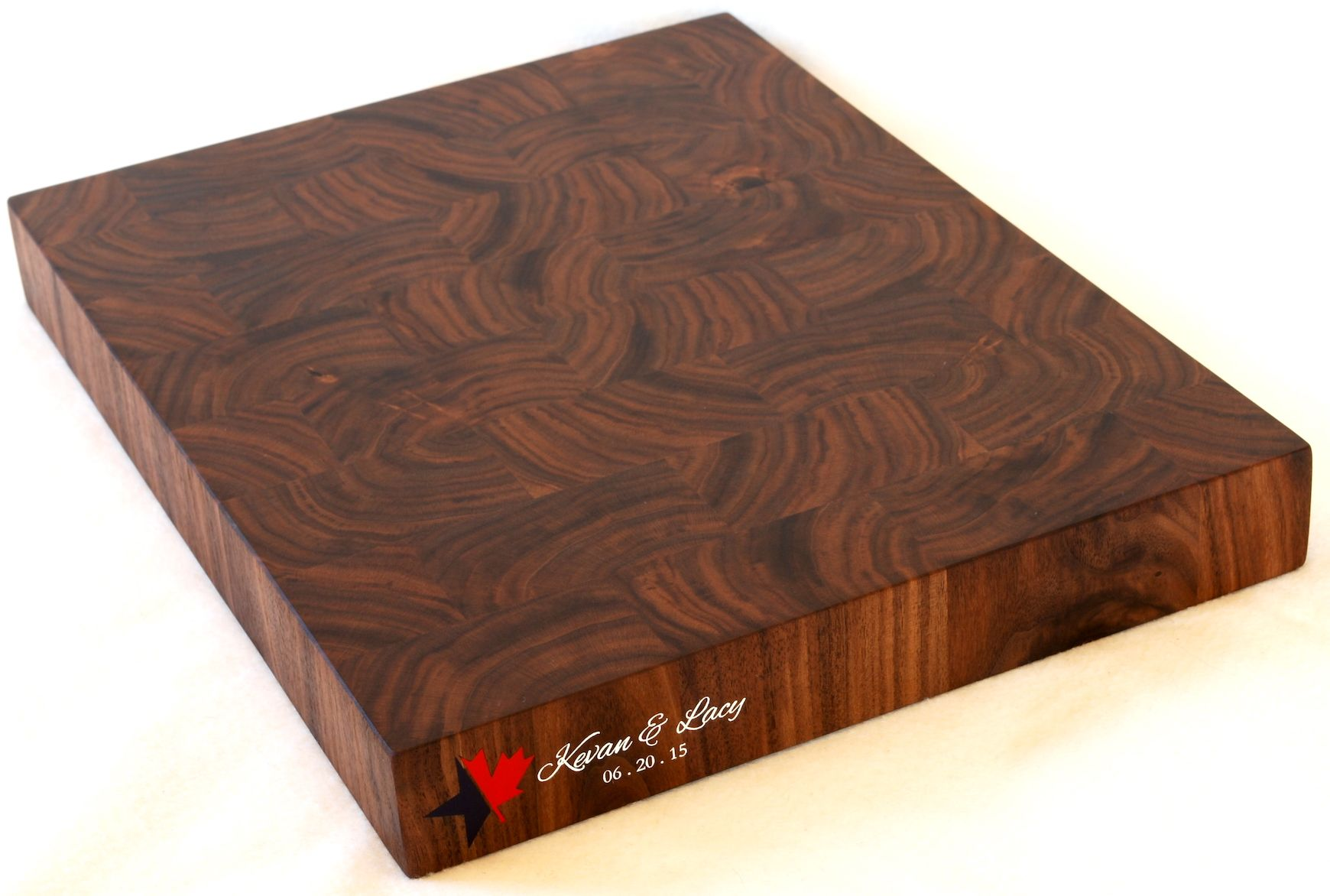 Custom Made Engraved End Grain Cutting Board Walnut Maple Birch Or Cherry
