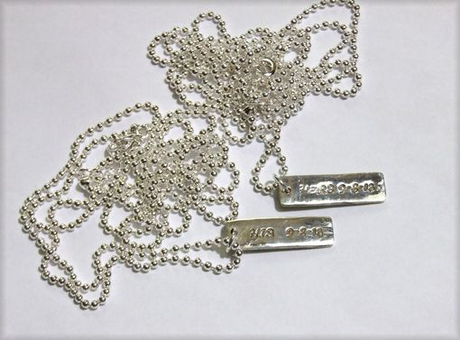 Custom Made Custom Sterling Silver Tags With Ball Chain Necklace