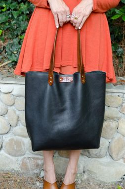 Custom Made Large Black Leather Tote Handbag, Black Tote Shoulder Bag