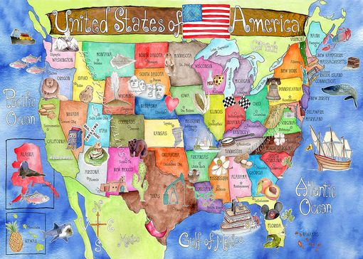 Custom Made Children's Illustrated Watercolor Art United States Royal Blue Map