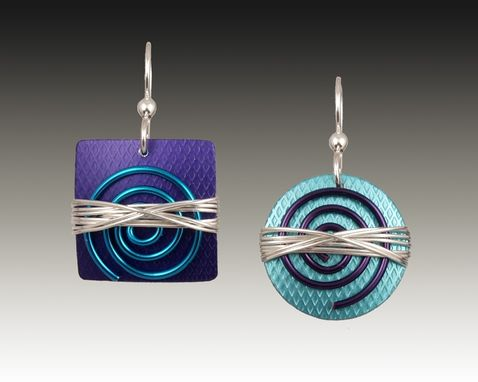 Custom Made Anodized Aluminum And Sterling Silver Earrings