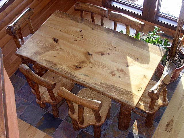 Custom Made Rustic Pine Log Diningroom Table And Chairs