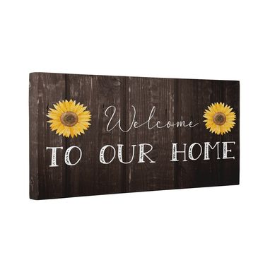 Custom Made Welcome To Our Home Sunflower Canvas Wall Art