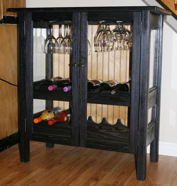Custom Made Wine Cabinet W/ Glass Doors And Panels