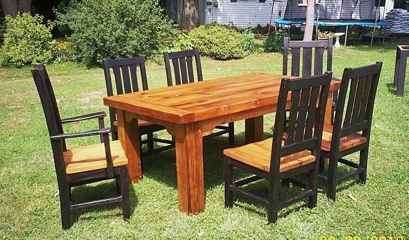 Custom Heavy Barn Wood Dining Table And 6 Chairs By Paul S
