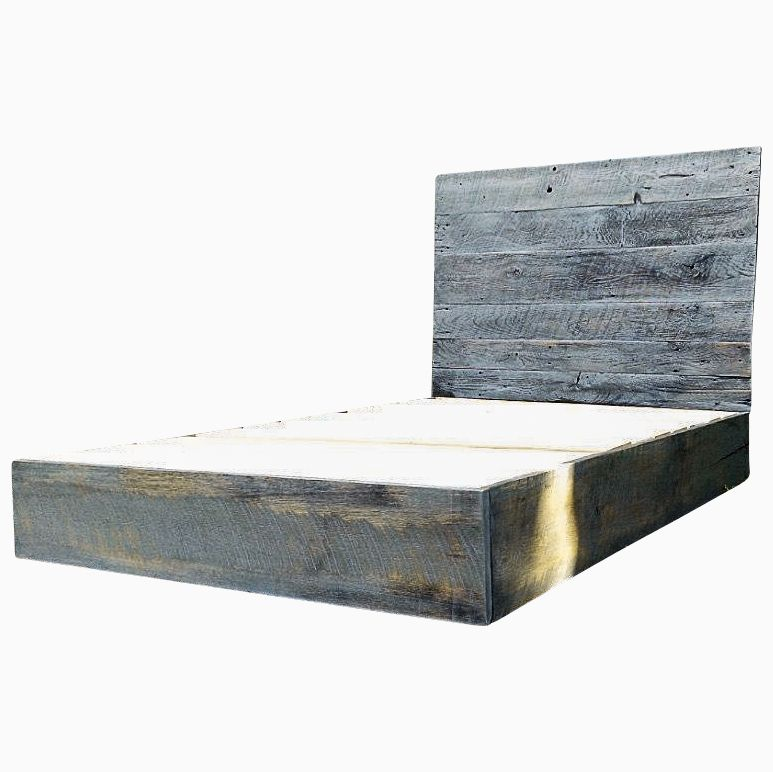 custom made weathered grey reclaimed barn wood platform bed