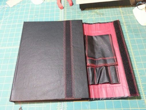 Custom Made Vegan Vinyl Sketchbook With Stitch Detailing And Pencil Holder