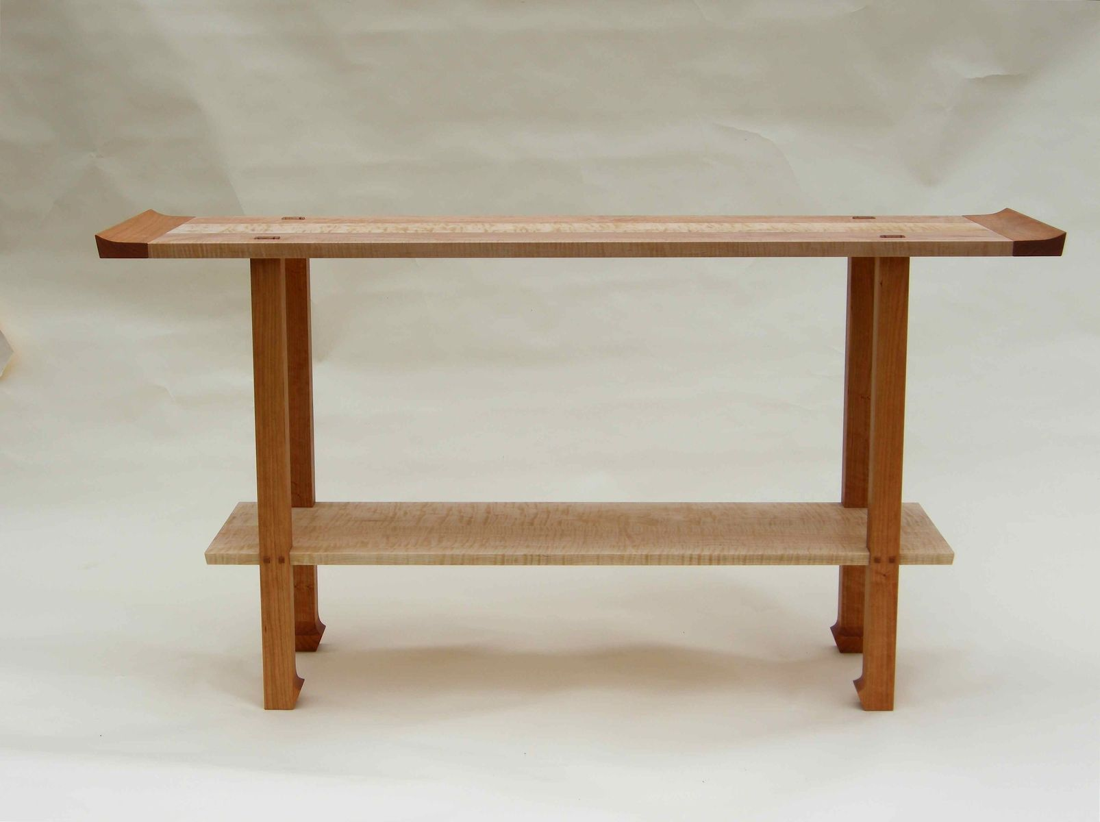 Handmade cherry curly maple console table by corwin for Sofa table cherry