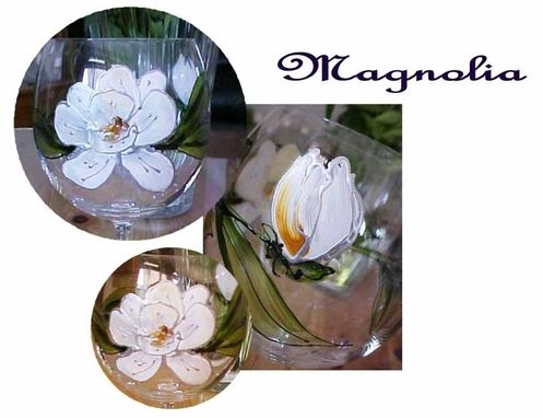 Custom Made Magnolia Designed Wine Goblets