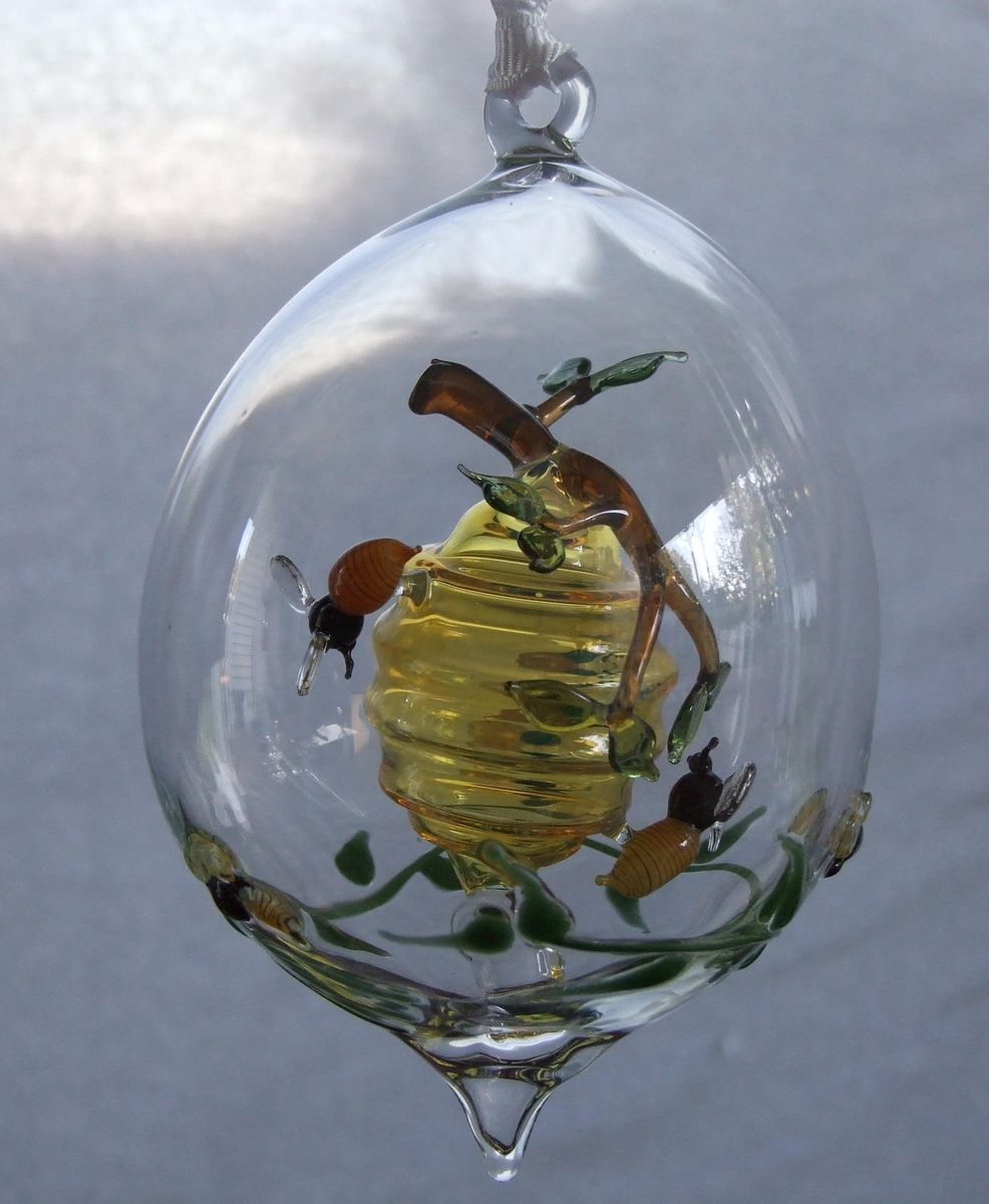 Beehive ornament - Custom Made Hand Blown Ornament Beehive With Bees And Branch