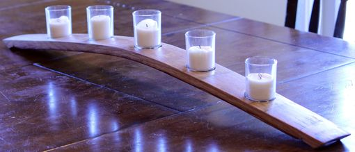 Custom Made Wine Stave 3 Votive Candle Holder