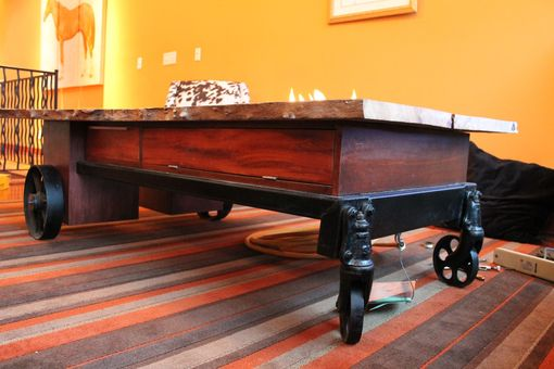 Custom Made Coffee Table//Fireplace//Industrial Cart
