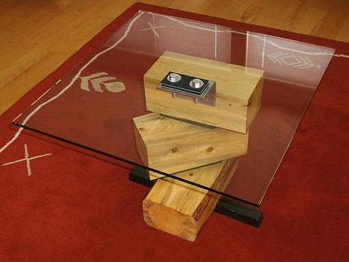 Custom Made Firewood Glass Top Side Table