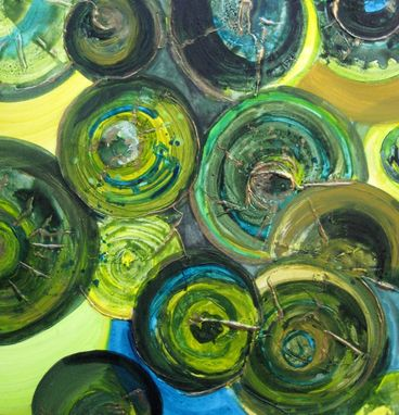 "Custom Made Green Circles Painting Original Abstract 20""X20"" Green Yellow Bronze Textured Painting"