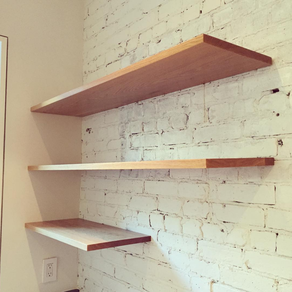 Floating White Oak Shelving