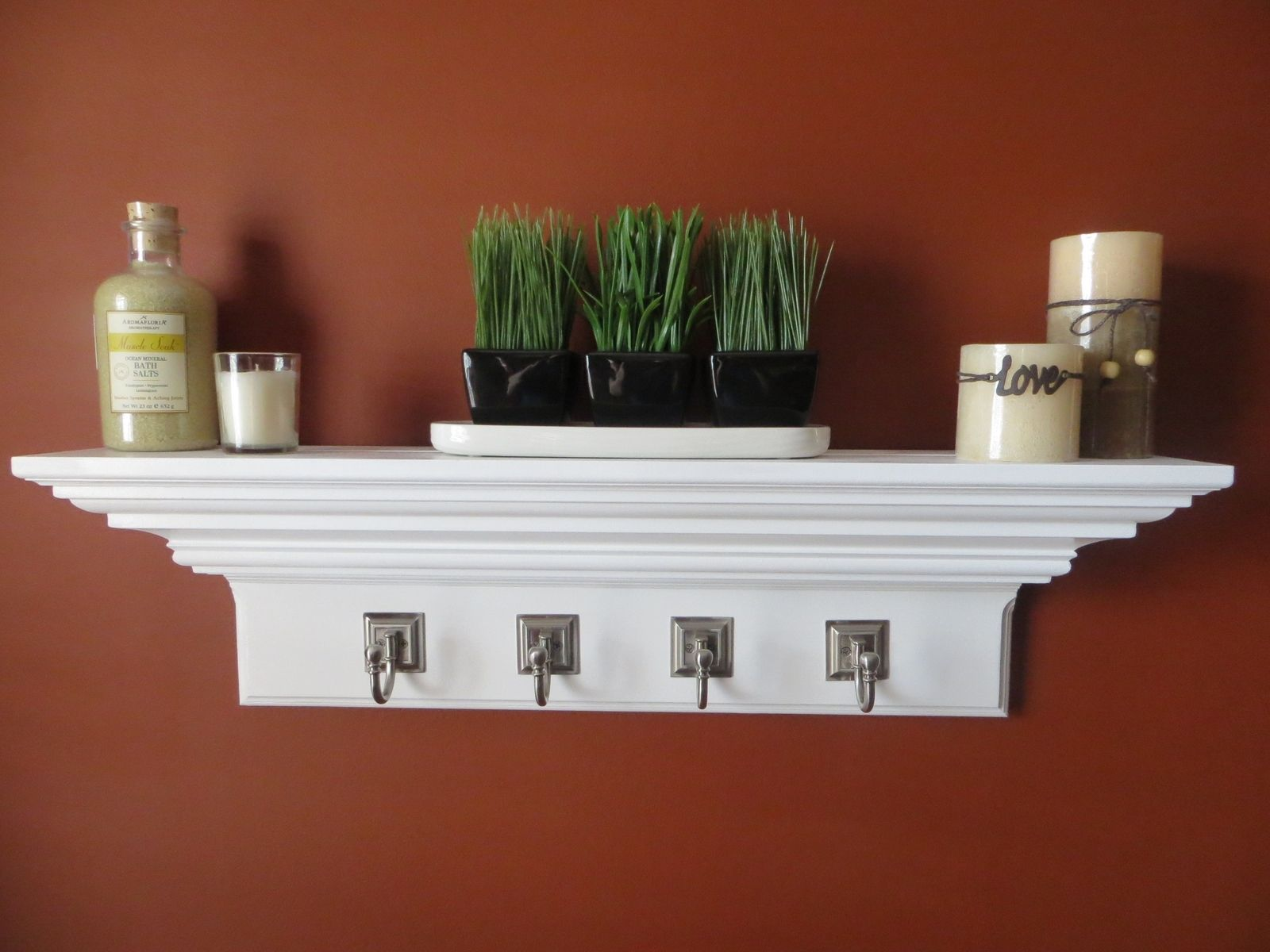 custom 30 crown molding floating wall shelve with hooks by shoreshelves. Black Bedroom Furniture Sets. Home Design Ideas
