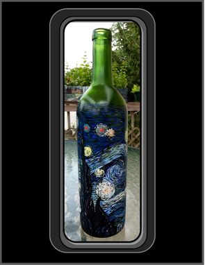 Custom Made Vincent Van Gogh, Starry Night, Masterpeice Wine Bottle, Wine Art, Van Gogh, Kitchen Art, Art