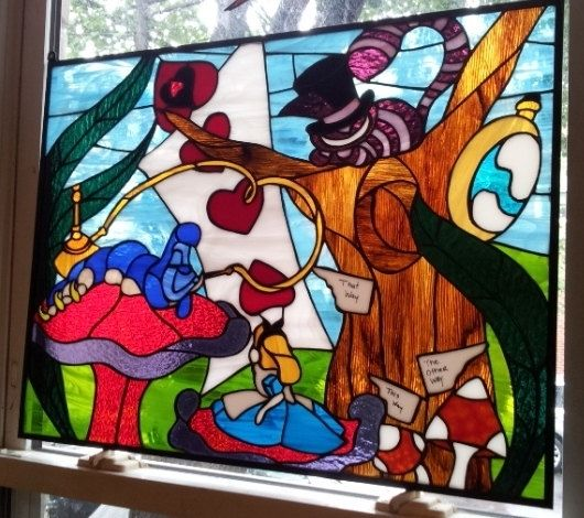 Custom Alice In Wonderland Stained Glass Window Panel P By