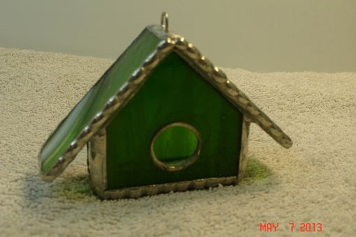 Custom Made Empty Nest Bird House Ornament In Bright Green With White And Green Swirled Roof In Stained Glass