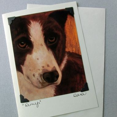 Custom Made Border Collie Card - Smooth Coated Border Collie - Chocolate And White Border Collie