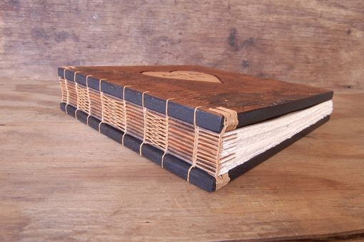 Custom Made Rustic Guest Book  With Carved Tree Bark Covers