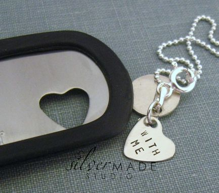 Custom Made Military Stainless Dogtag And Sterling Bracelet With Heart Bracelet