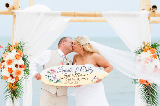 Custom Made Hibiscus Wedding Surfboard Sign, Just Married Wedding Board