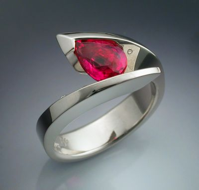 Custom Made 14k White Gold Woman's Ring Pink Tourmaline And Diamond Ring
