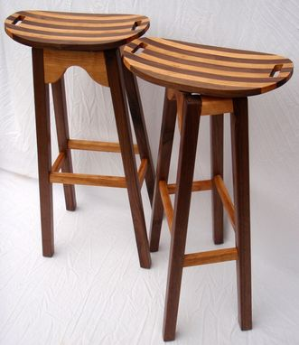 Custom Made Curvy And Swervy Bar Stools With Walnut Legs