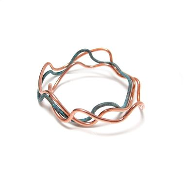 Custom Made Copper Bangles - Wave Copper Wire  Bangles - Ebb Flow Bangles Arm Bands