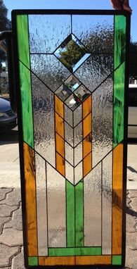 Custom Made Frank L. Wright Style/Mission Stained Glass Window