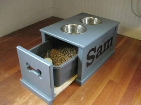 Custom Made Personalized Dog Feeding Station