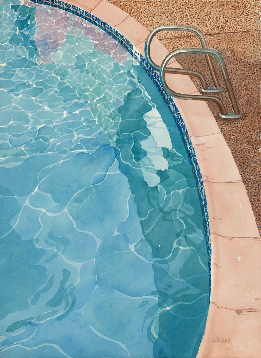 Handmade Swimming Pool Watercolor Paintings By Trailhead