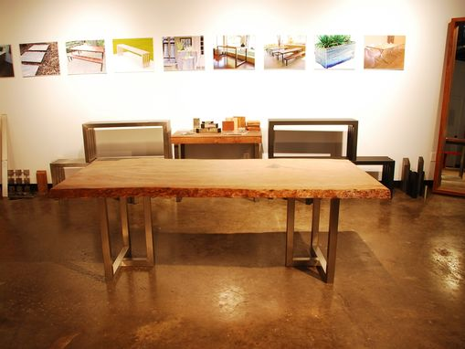 Custom Made Live Oak Slab Table - Stainless Steel Frame