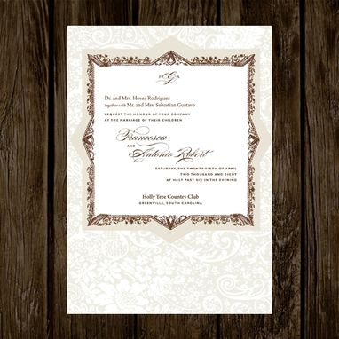 Custom Made Sophisticated Border Wedding Invitations