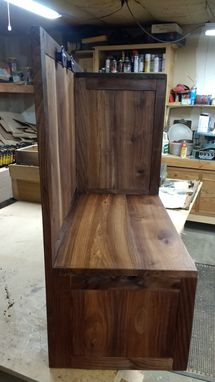 Custom Made Walnut Child's Seating And Storage Area