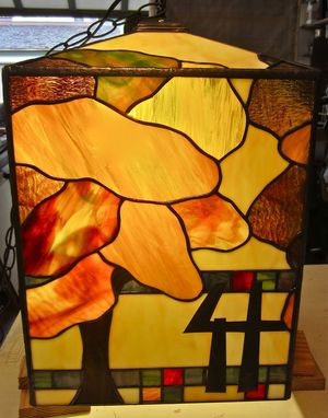 Custom Made Stained Glass Porch Pendant Light-  Autumn Oak
