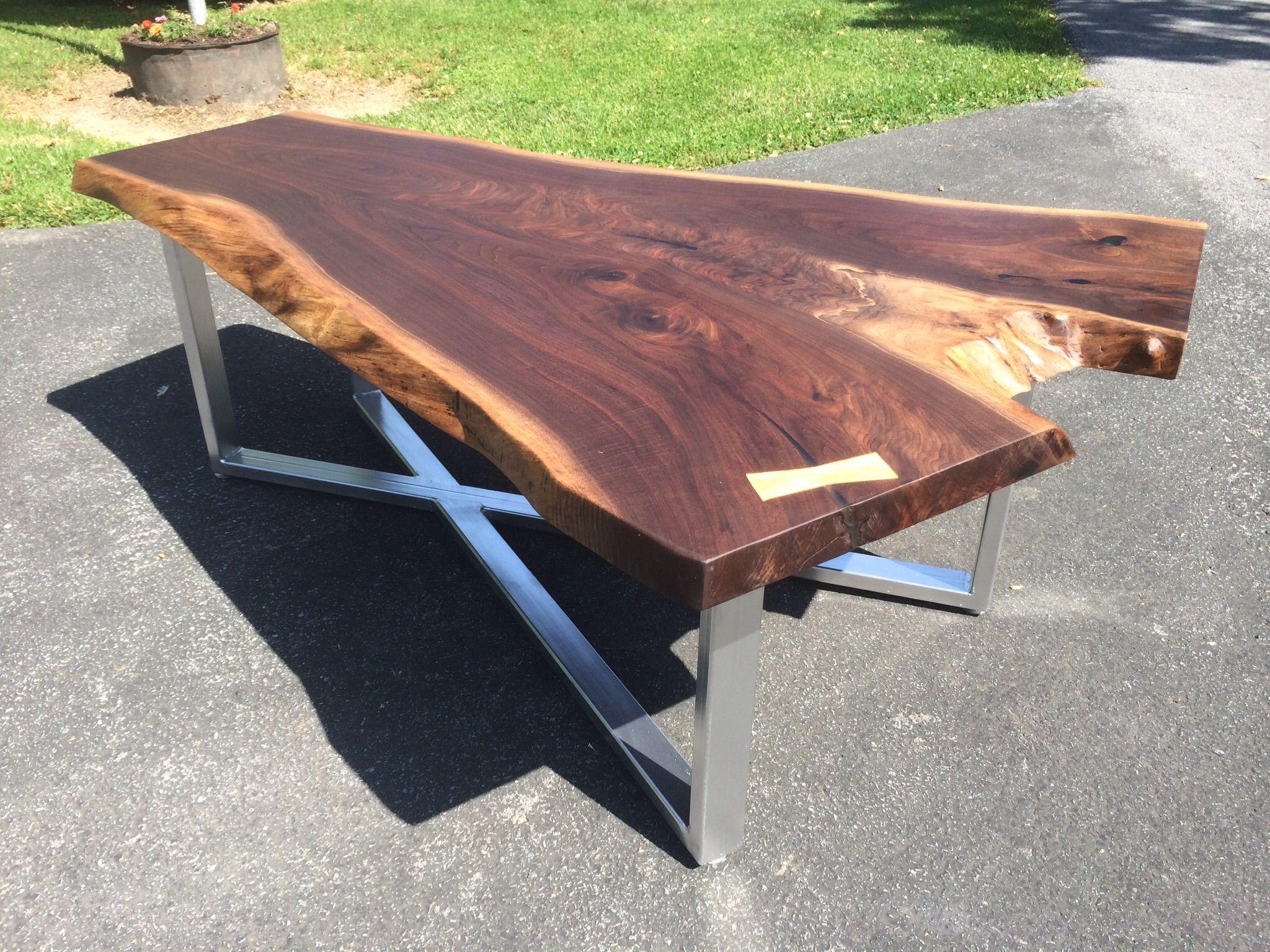 Buy Hand Made Live Edge Walnut Coffee Table With X-Base ...