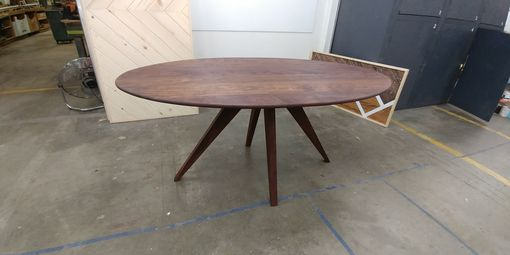 Custom Made Mid-Century Modern Solid Walnut Dining Table For Six