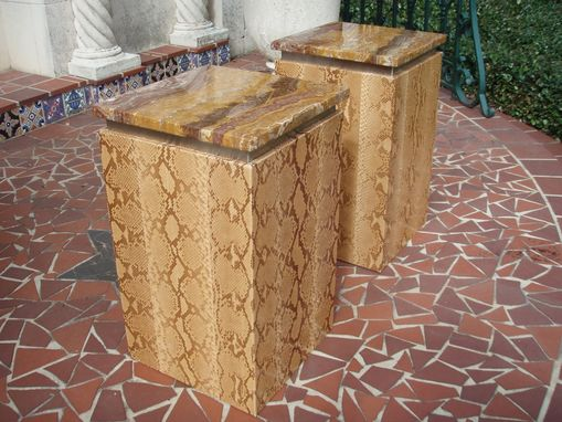 Custom Made Pair Of Python Occasional Tables