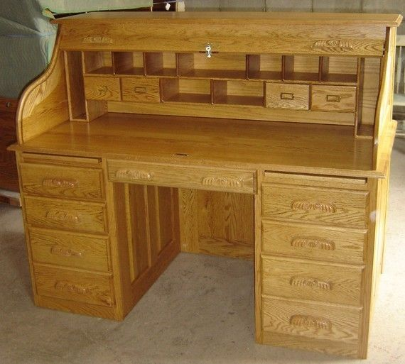 Custom Made New Solid Oak Wood Roll Top Office Home Desk With Drawers
