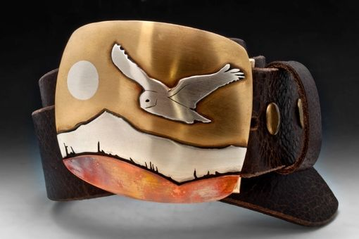 Custom Made Flying Snowy Owl Belt In Sterling Silver, Brass, And Copper