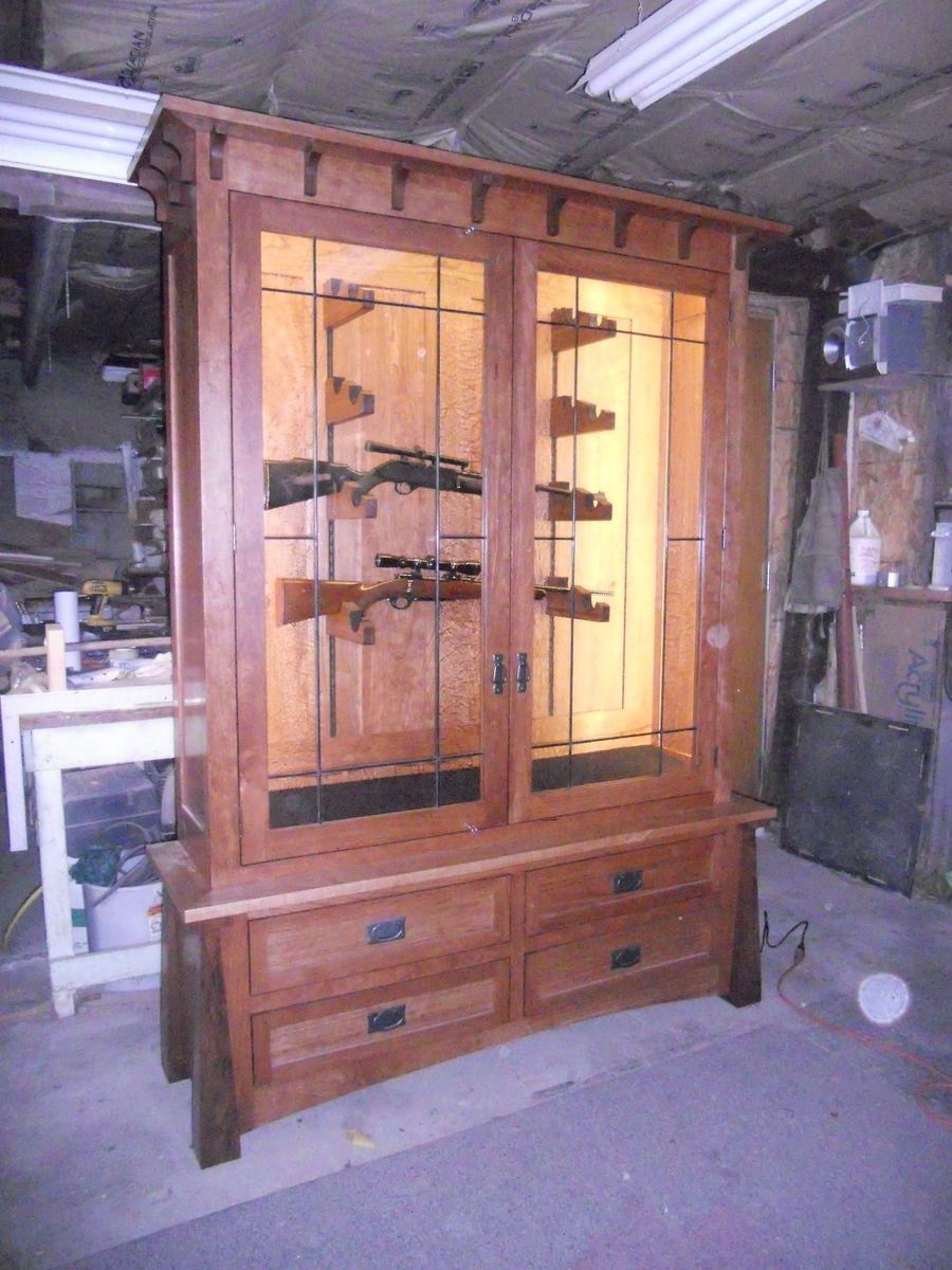 Hand Made Horizontal Display Civil War Gun Cabinet By